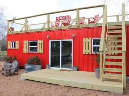 紅色屋頂平台集裝箱居住房屋